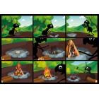 Ameisli-Sternli-Postkarte Feuermachen und Schnitzregeln